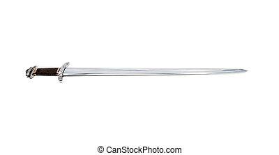 reproductie, van, oud, stiklestad, viking, zwaard