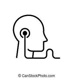 reprodukce zvuku, školství, -, moderní, vektor, jednoduché vedení, ikona