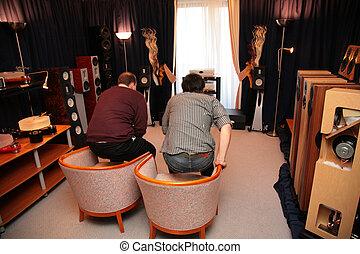reprodukce zvuku, místo, muži, systém, dva, hi-end