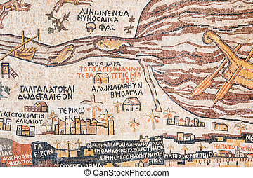 reproduktion, antikes , land, heilig, madaba, landkarte