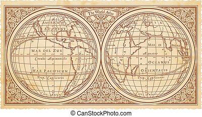 reproduktion, vektor, altes , landkarte