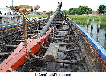 reproduktion, von, a, wikinger schiff
