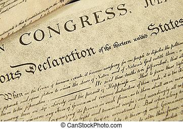 reproduktion, von, der, usa., unabhängigkeitserklärung,...