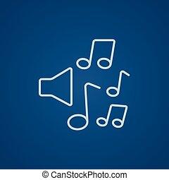 reproduktory, s, hudba zaregistrovat, řádka, icon.
