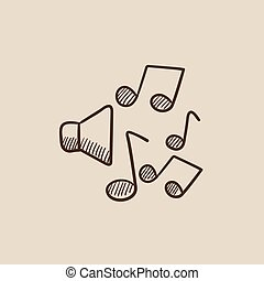 reproduktory, s, hudba zaregistrovat, skica, icon.