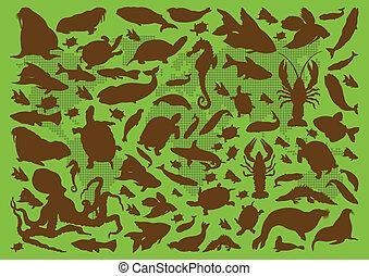 reptil, frosch, eidechse, vektor, amphibie, turtle, schlange