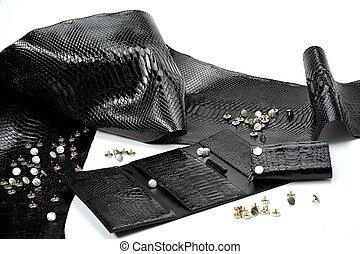 reptil, titta, glancy, läder, styckena, svart, skinn, lik