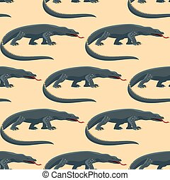 Reptile amphibian varan seamless pattern colorful fauna vector illustration reptiloid predator reptiles animals.