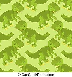 reptile, ancien, tissu, jurassique, arrière-plan., period., pattern., ornement, isométrique, seamless, tyrannosaurus, préhistorique, teeth., animal, bébé, t-rex, dinosaure, texture., prédateur, monstre