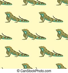 Reptile chameleon amphibian seamless pattern colorful fauna vector illustration reptiloid predator reptiles animals.
