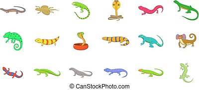 Reptile icon set. Cartoon set of reptile vector icons for your web design isolated on white background