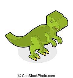 reptile, préhistorique, monstre, jurassique, dinosaure, period., prédateur, t-rex, tyrannosaurus, ancien, dents animales, 3d., isometric.