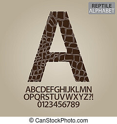 Reptile Skin Alphabet and Numbers Vector