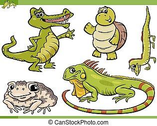 reptiles and amphibians cartoon set