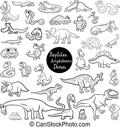 reptiles and amphibians set color book - Black and White...
