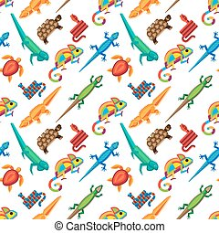 Reptiles animals seamless pattern.