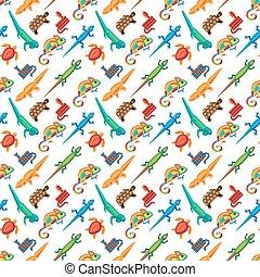 Reptiles animals vector seamless pattern.