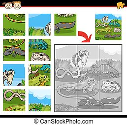 Cartoon Illustration of Education Jigsaw Puzzle Game for Preschool Children with Reptiles and Amphibians Animals Characters Group