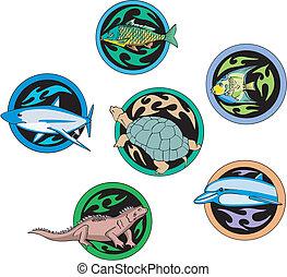 reptiles, fish, dingbats, rond