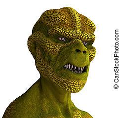 Reptilian Alien Portrait - 3D rendered portrait of a...