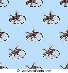 reptiloid, réptil, coloridos, padrão, seamless, ilustração, predador, vetorial, anfíbio, répteis, fauna, animals.