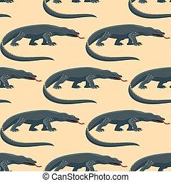 reptiloid, réptil, coloridos, padrão, seamless, ilustração, predador, vetorial, anfíbio, répteis, fauna, varan, animals.