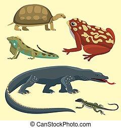 reptiloid, réptil, coloridos, predador, ilustração, animals., vetorial, anfíbio, répteis, fauna