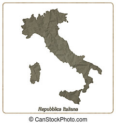 Italian map outline isolated on gray textured paper