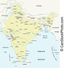 repubblica, vettore, india, mappa