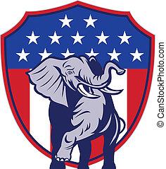 repubblicano, elefante, mascotte, bandiera usa