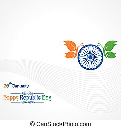 Republic Day greeting with butterfly stock vector