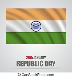 Republic Day India. Waving flag of India on a gray background
