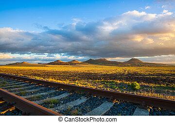 republic., estrada ferro, único, pôr do sol, pista, tcheco