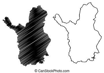 (republic, gribouiller, illustration, laponie, région, ...