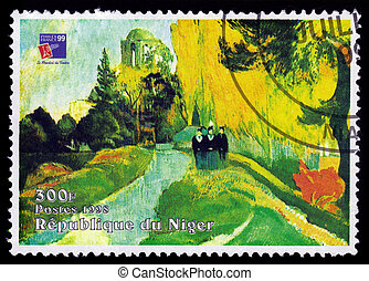 REPUBLIC NIGER - CIRCA 1998: A stamp printed in Niger shows painting by Paul Gauguin, Les Alyscamps (The Three Graces at the Temple of Venus ), series, circa 1998