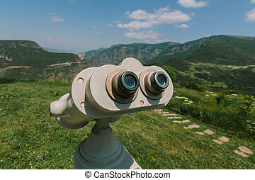 Republic of Armenia. Binocular viewer at Tatev.