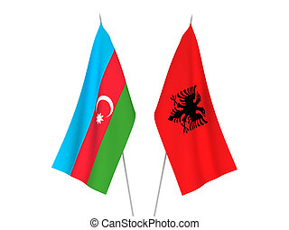 Republic of Azerbaijan and Albania flags - National fabric ...