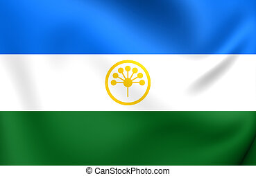 Republic of Bashkortostan Flag, Russia. Close Up.