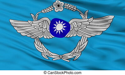 Republic Of China Air Force Flag Closeup Seamless Loop -...