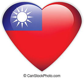 Republic of China flag button on a white background. Vector ...