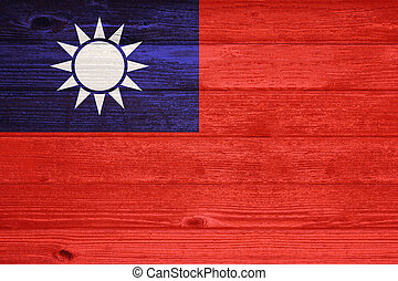 Republic of China Flag painted on old wood plank background.