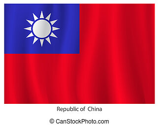 Republic of China flag with title on the white background, ...