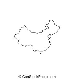 Republic of China map silhouette illustration on the white ...