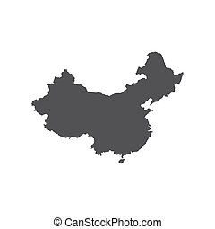 Republic of China map silhouette on the white background. ...