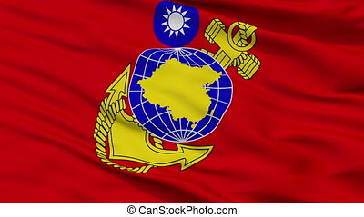 Republic Of China Marine Corps Flag Closeup Seamless Loop -...
