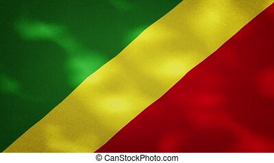 Republic of Congo dense flag fabric wavers, perfect loop for background