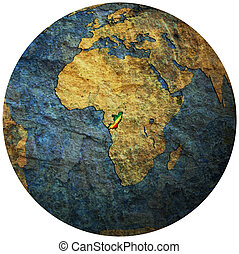 republic of congo flag on globe map