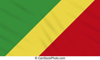 Republic of Congo flag waving cloth, ideal for background, loop