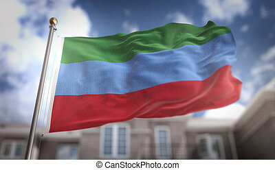 Republic of Dagestan Flag 3D Rendering on Blue Sky Building Background