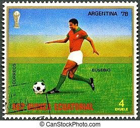 REPUBLIC OF EQUATORIAL GUINEA - CIRCA 1977: A stamp printed...